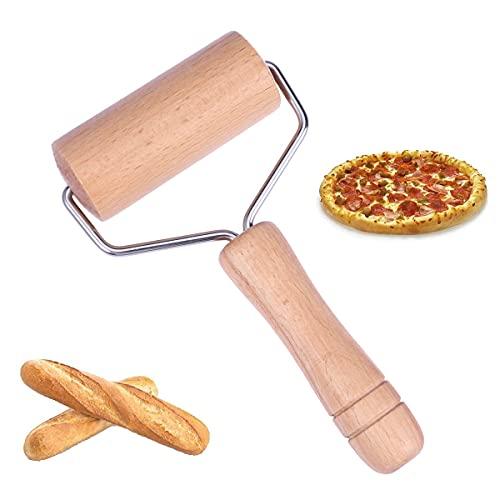 BESTONZON, piccolo rullo stendipasta in legno, mattarello a T, per la preparazione di pasta, biscotti, pizza