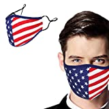 NEWMARK Reusable Face Covering with Filter Pocket, Stylish Cotton Comfortable Breathable Washable Cloth from USA (American Flag (1 Pack))