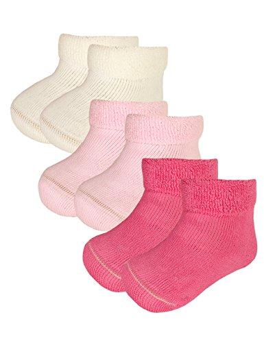 maximo Baby-Mädchen 3er Pack Socken, Mehrfarbig (Wollweiss/Pink Rose 3864), 68 (Herstellergröße: 68/80)