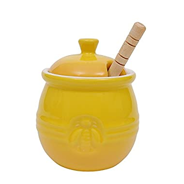 Creative Co-Op DA4177 Stoneware Honey Pot with Wood Honey Dipper, Yellow
