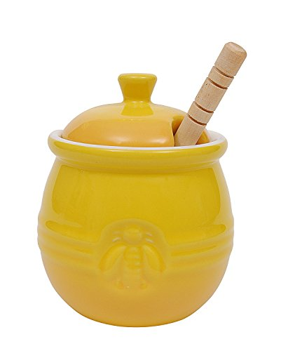 Creative Co-Op Pot with Lid & Wood Honey Dipper, 3. 5Lx3. 5Wx4. 25H inches, Yellow