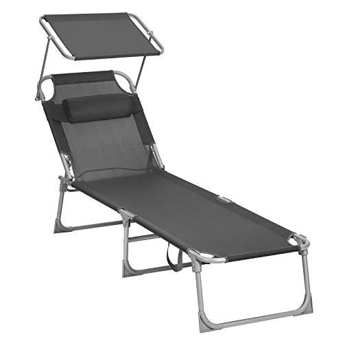 SONGMICS Chaise longue, Bain de soleil, Transat de relaxation, avec appui-tête, dossier et parasol inclinables, léger, pliable, 53 x 193 x 29,5 cm, charge 150 kg, pour jardin, Gris foncé GCB19UV1