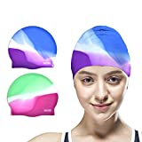 Best Waterproof Swim Caps - Vsidea Silicone Swim Caps, 2 Pack Durable Comfortable Review
