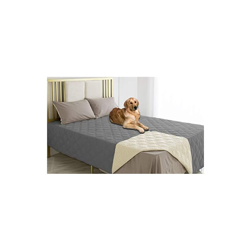 dog supplies online ameritex waterproof dog bed cover pet blanket with anti-slip back for furniture bed couch sofa (52x82 inches, dark grey)