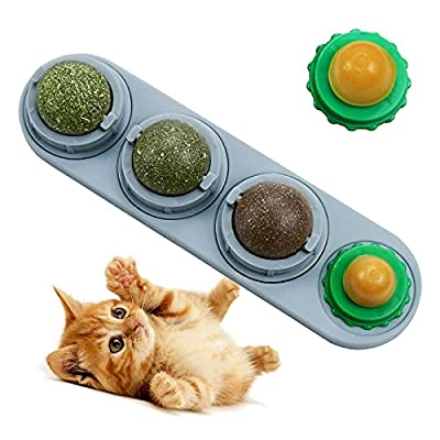 LMUGOOS Catnip Licks Ball with 2 Candies,Natural Healthy Rotatable Cat Treat Toys Remove Hair Inside of Cats,Catnip Ball Toys Stick to Wall Cleaning Teeth for Kitten from LMUGOOS