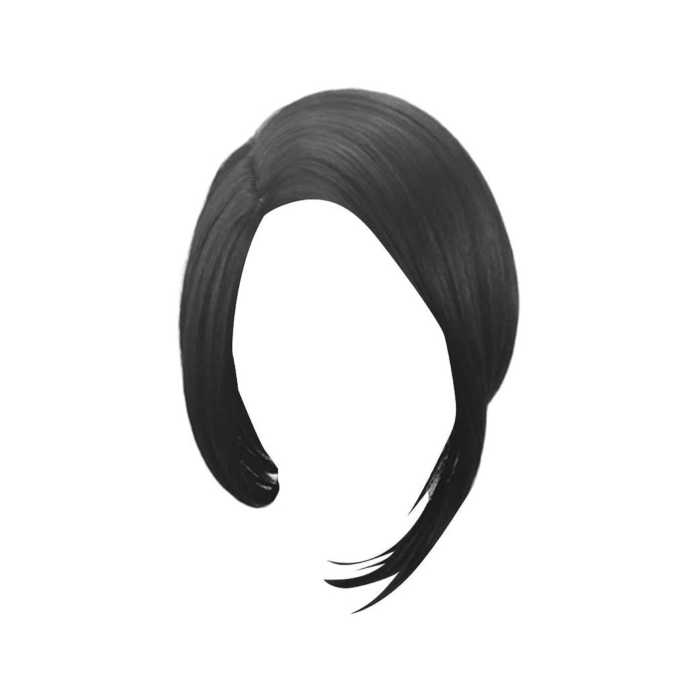 参照するプレゼント茎LURROSE 毎日のコスプレパーティーのための人工毛ショートブラックストレートウィッグボブヘア
