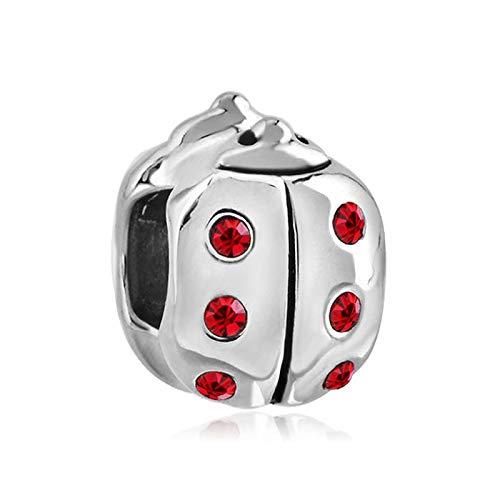 Pandora 925 Sterling Silver Pendant Fashion Jewelry Women Big Hole Beads Metal Fancy Girls Red Crystals Ladybug Charm Fit Bracelet