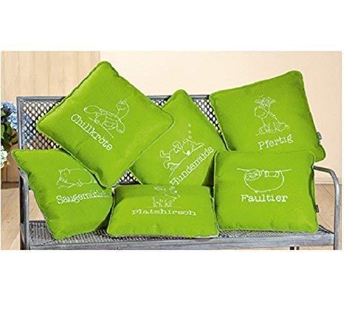 GILDE Filz Kissen mit Weisheit 1 Stück L 40 x B 40 x H 40 cm grün, gestickt Hundemüde