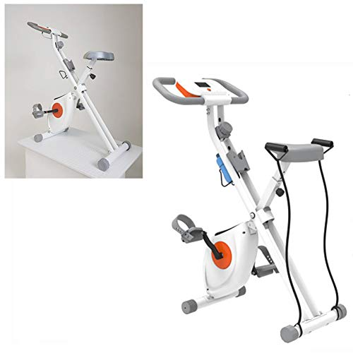 LCYZ Magnetisch Faltbar Heimtrainer- Weiße Indoor-Fitnessgeräte - Stationärer Aufrecht Stehender Fitnesszyklus für Heimtraining und Cardio