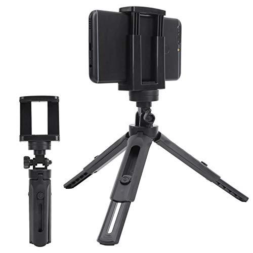 Akozon Trípode de Escritorio Mini Soporte para trípode Tornillo de 1/4 de Pulgada Clip de teléfono Ángulo Ajustable de Selfie de plástico portátil para teléfono móvil