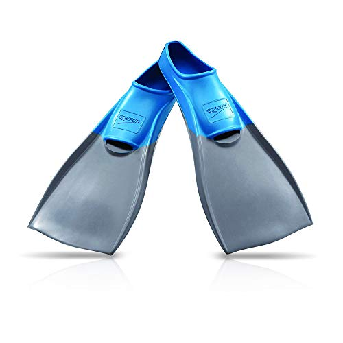 Speedo Rubber Swim Fins (Grey/Blue, Medium)