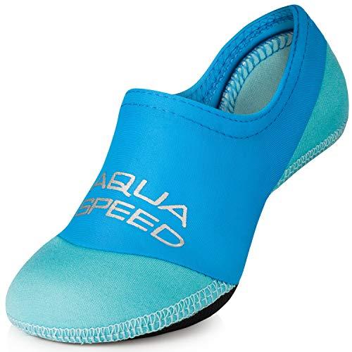 Aqua Speed Badesocken Kinder   Tauchsocken Junge   Kids Swim Socks   Blaue Neoprensocken   Badeschuhe Badesocken Kleinkind   Schwimmsocken   Swimming   Gr. 22-23, Blau - Hell Blau   Neo