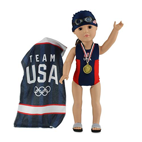 """Emily Rose 18 Inch Doll Clothes   6-Piece Team USA 18"""" Doll Bathing Suit and Accessories Set, Including Olympic Gold Medal!   Gift Boxed!   Compatible with American Girl and Similar Dolls"""
