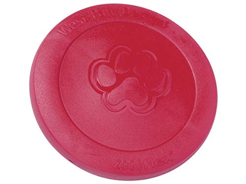 West Paw Zogoflex Zisc Dog Frisbee, High Flying Aerodynamic Disc for Dogs Puppy – Lightweight, Floatable Dog Frisbees for Fetch, Tug of War, Catch, Play – Doubles as Food/Water Bowl, L, Ruby