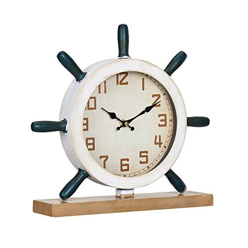 [en.casa] Reloj de Mesa Decorativo diseño Marinero timón - Pantalla analógica - 34 x 8 x 32 cm Cristal