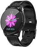 MKLI Smart Watch, mit Herzfrequenz-Blutdruck-Schlaf-Monitor-Sport-Uhr, Informationen Erinnerung, Geeignet für Android und iOS,Black