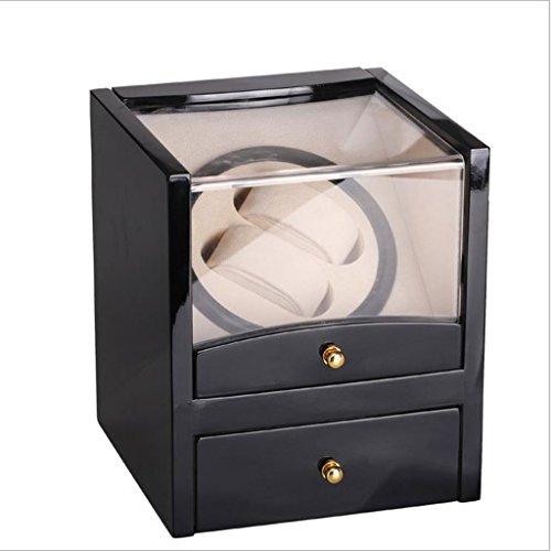 Cajas Giratorias Watch Winder Caja de visualización del Reloj de la Caja del Motor del Reloj giratoria de luz Negra automáticamente