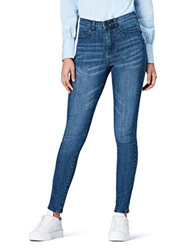 Amazon-Marke: find. Damen Skinny Jeans mit hohem Bund, Blau (Mid Wash), Large (32W / 32L)