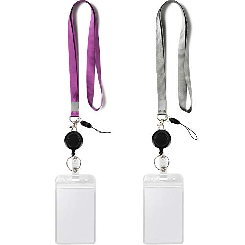 2 Pack ID Badge Holders with Purple Lanyards and Retractable Badge Reel Office Neck Grey Lanyard with Vertical Heavy Duty id Holder Card Holder Punched Zipper Waterproof Resealable Clear Plastic