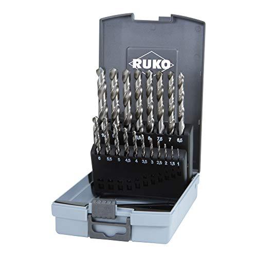 RUKO R281214ERO HSSE-Co 8 - Juego de brocas helicoidales (DIN 338, tipo VA, acabado TiAlN, 19 piezas)