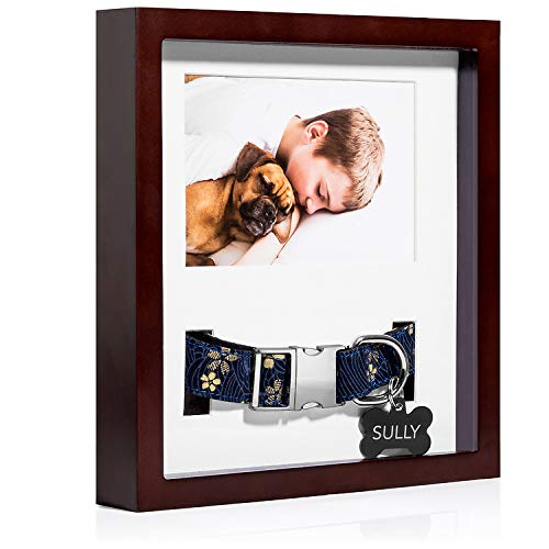 "King Pup Pet Memorial Frame with Collar Display. 4"" by 6"" Photo, Fits Small/Medium/Large/Wide Collars"