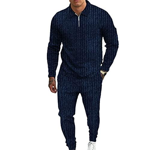 Traje de hombre con cremallera de manga larga para deportes de manga larga Pullover Solapa agradable al tacto Azul marino