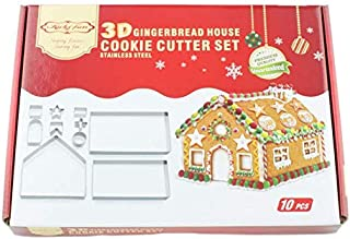 10-Pc 3D Christmas Gingerbread House Cookie Cutters, Gift Box Packaging