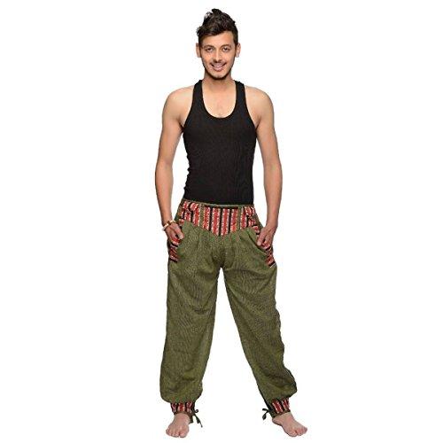 Simandra Haremshose Freizeithose Fischerhose Fitness Hippie Goa Schlupfhose PSY Ethno Sport Thamel Herren (Grün, L/XL)