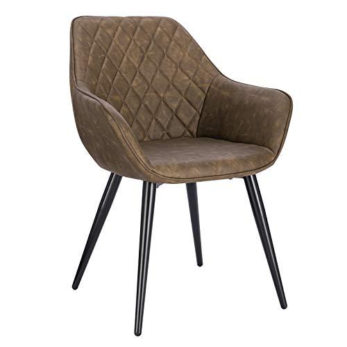 WOLTU Esszimmerstühle BH251dbr-1 1x Küchenstuhl Wohnzimmerstuhl Polsterstuhl mit Armlehen Design Stuhl Kunstleder Metall Dunkelbraun