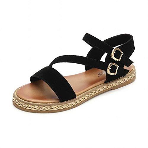 Women Sandals Wild Sandales Confort à Bride sur la Semelle Plate-Forme à Muffins, Chaussures Fantaisie pour Femmes Romaines, Black, 35