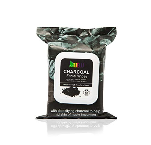 Dew Charcoal Face Wipes 30ct Deep Cleaning, Detoxifying the skin, Exfoliating Facial Wipe, Daily Cleansing Face Wipe to Remove Waterproof Makeup and Mascara, Alcohol-Free, Facial Wipe for All Skin