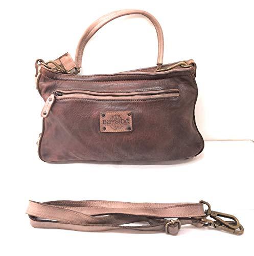 Bayside BS501 Damen-Umhängetasche, rechteckig, Kalbsleder, Vintage-Design, hergestellt in Italien