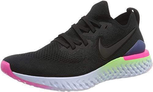 Nike Men's Epic React Flyknit 2 Running Shoes, Schwarz (Black/Black-Sapphire-Lime Blas 003), 8.5 UK