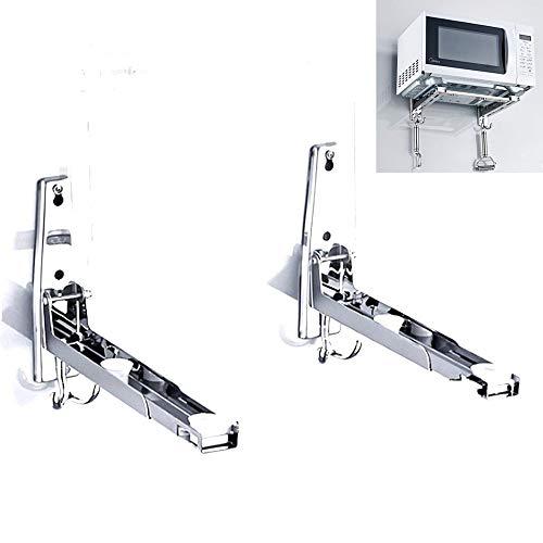 RanDal 304 Edelstahl Mikrowelle Rack Retrackable Faltbare Wand montiert Stand Küche Storage Rack Halterung mit zwei abnehmbaren Haken
