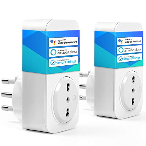 Presa Wifi Italiana 16A 3680W Smart Plug Intelligente Spina Energy Monitor, Funzione Timer, APP Controllo Remoto, Compatibile con SmartThings, Amazon Alexa, Google Assistant e IFTTT, 2 Pezzi meross