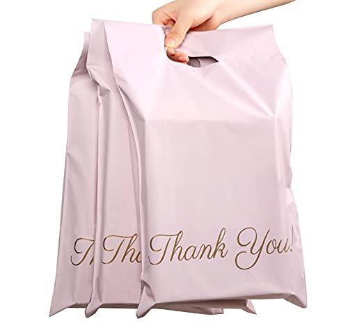60 bolsas de plástico para envíos postales, color rosa champán, 250 x 350 mm, portátiles, bolsas de plástico con texto 'Thank You', autoadhesivas y opacas, para ropa