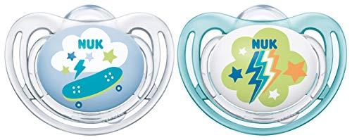 NUK 10176272 Freestyle Silikon-Schnuller, kiefergerechte Form, 6-18 Monate, 2 Stück, transparent & blau