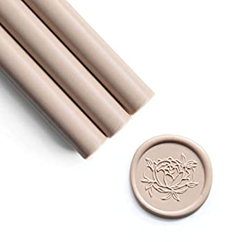 UNIQOOO Mailable Glue Gun Sealing Wax Sticks for Wax Seal Stamp - Nude Earthy Neutural Tone Great for Boho Wedding Invitations Cards Envelopes Snail Mails Craft Project Gift Ideas Pack of 8