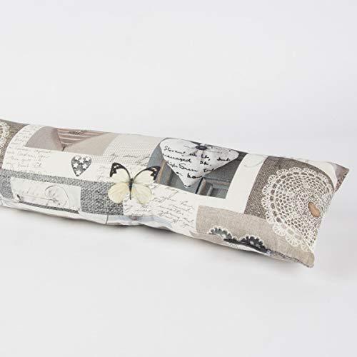 SCHÖNER LEBEN. Zugluftstopper Herzen Natur beige grau Verschiedene Größen, Auswahl:110cm Länge