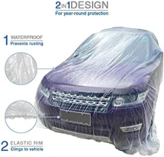 VViViD Universal Clear Plastic Disposable Sedan-Sized Car Cover W/Elastic Band