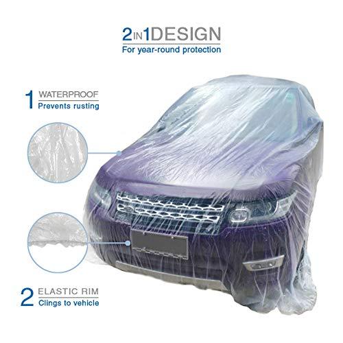 VViViD Universal Clear Plastic Disposable Sedan-Sized Car Cover W/ Elastic Band