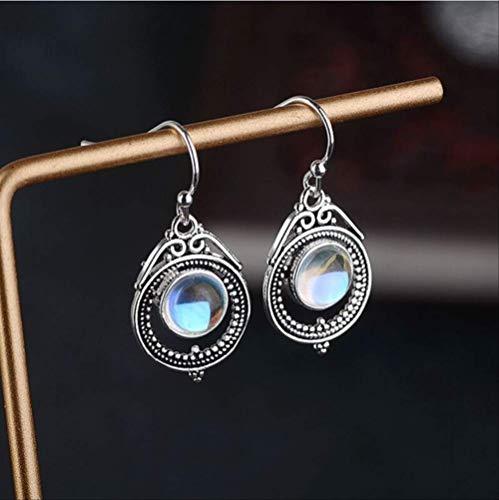 CHZDSB Ohrringe Modeschmuck Meer Blau Mondstein Ohrringe Für Frauen Silber Schmuck Hochzeit Ohrringe GeschenkeXe1