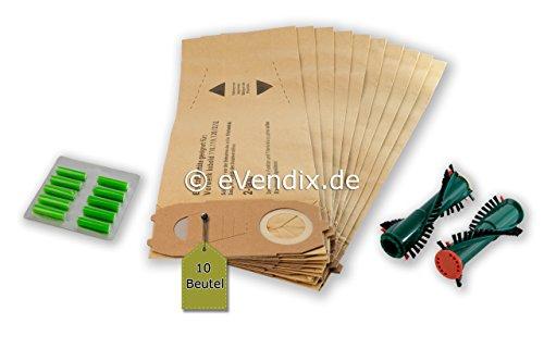 Juego de filtros: 10 Bolsas de aspiradora/Bolsas de Polvo + cepillos Redondos + Varillas de Incienso adecuadas para Vorwerk Kobold VK 118 119 120 121 122