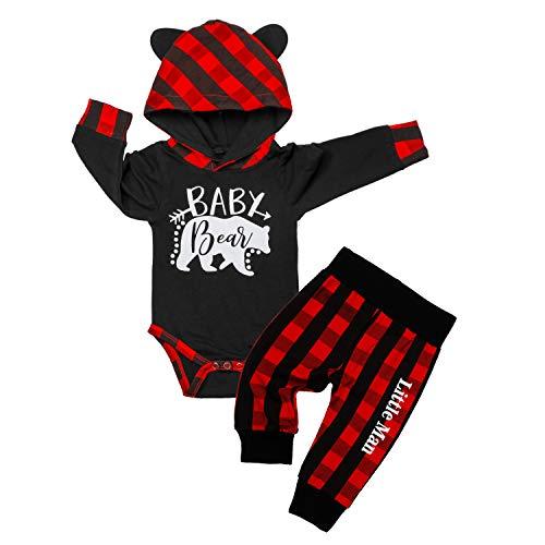 Baby Boy Clothes Bear Letter Print Hoodies+Plaid,Little Man Long Pants 2PCS Outfits Set 3-6 Months