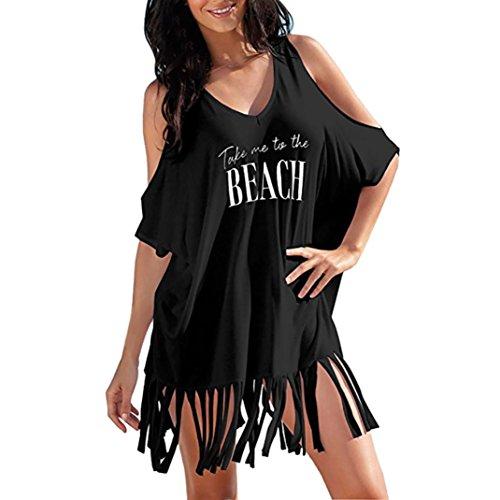 MRULIC Damen Womens Tassel Letters Print Baggy Bademode Bikini Cover-UPS Strandkleid(Schwarz,EU-54/CN-L)