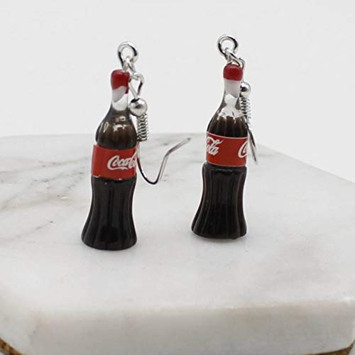 Heli Nueva simulación Divertida Botella de Bebida de Cola Llavero Lindo Estilo Harajuku pequeños Pendientes de Verano Frescos Pendientes