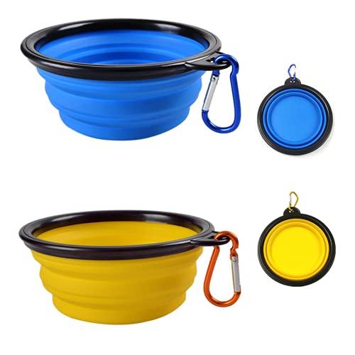 Ceasyde Lot de 2 Bols Pliables pour Chien, Bol en Silicone d'eau pour Chien de Voyage Portable pour Chiot Chat Petit et Moyen