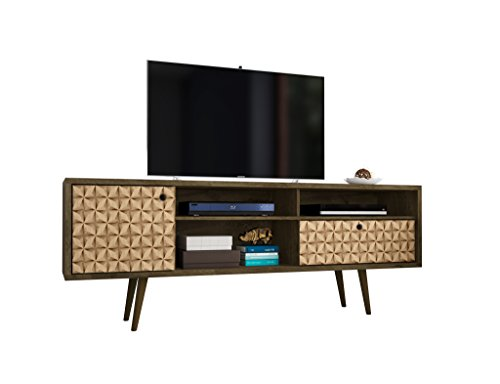 Manhattan Comfort Liberty Large Mid-Century Modern TV Stand, Brown/3D Print