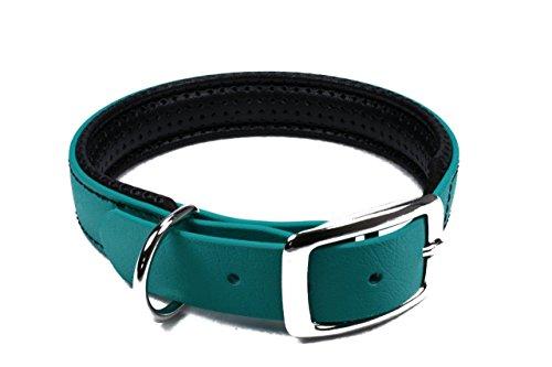 LENNIE BioThane Halsband, gepolstert, Dornschnalle, 19 mm breit, Größe 26-32 cm, Petrol/Teal, Aufdruck möglich