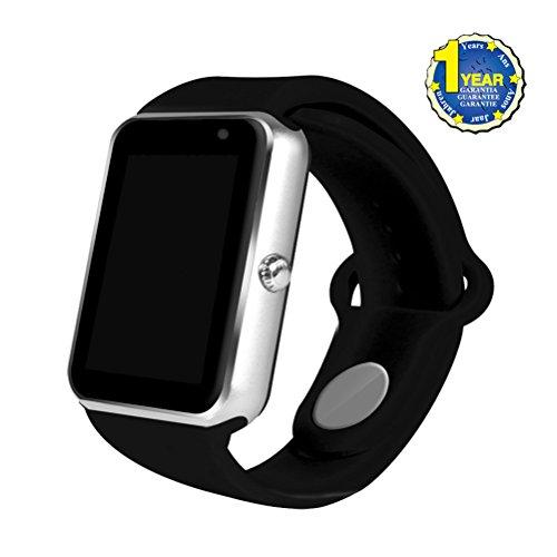 YOUMI neueste Bluetooth intelligente Uhr, Armbanduhr mit Kamera SIM Karten-Schlitz-Armband Smartwatch für Android intelligente Telefone. (Silver+Black)
